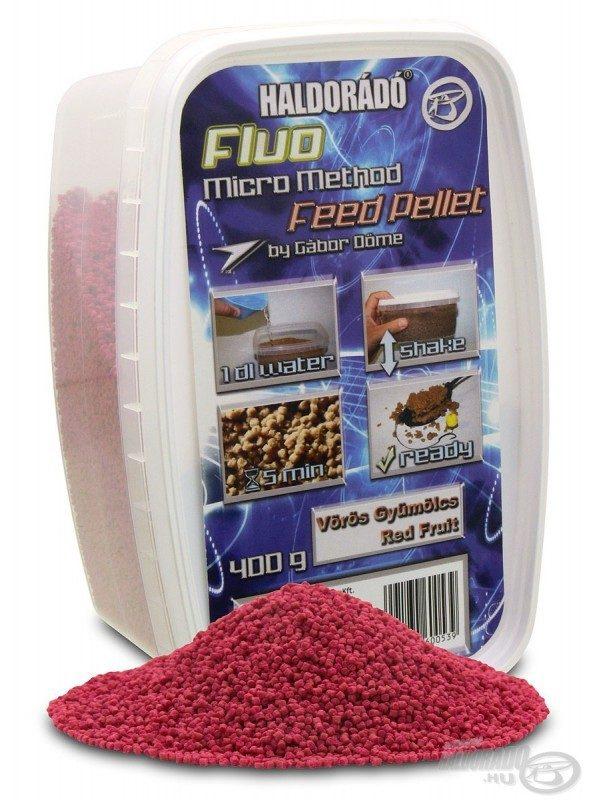 Fluo micro method feeder pellet - 400 g, Červene ovocie