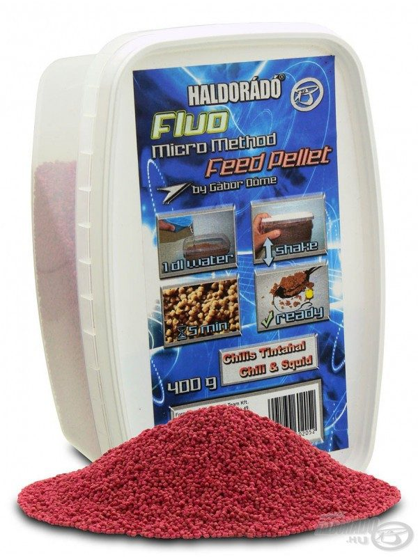 Fluo micro method feeder pellet - 400 g, Čili, kalamar